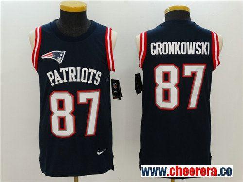 d50c21bac Men s New England Patriots  87 Rob Gronkowski Navy Blue Color Rush 2017  Vest Stitched NFL