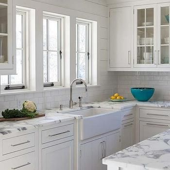 Calcutta Gold Marble Kitchen Countertops With White Subway Tiles