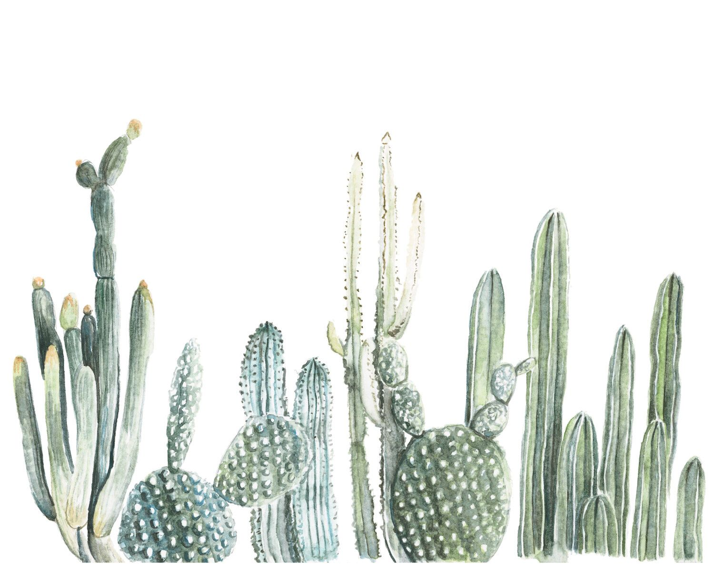 Horizontal Cactus Print - cactus painting - cacti - cactus ...