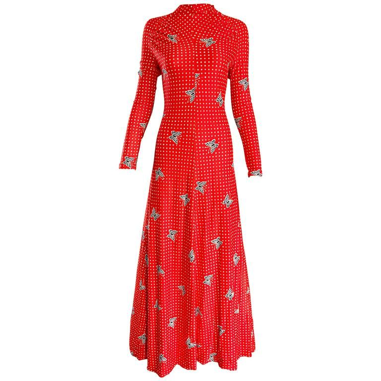 1970s Bright Orange ' Butterflies and Polka Dots ' Long Sleeve 70s Maxi Dress  | From a collection of rare vintage day dresses at https://www.1stdibs.com/fashion/clothing/day-dresses/