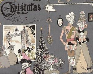Patchworkstoff FRAU RICHTER, Christmas-Gesellschaft, dunkelgrau-altrosa