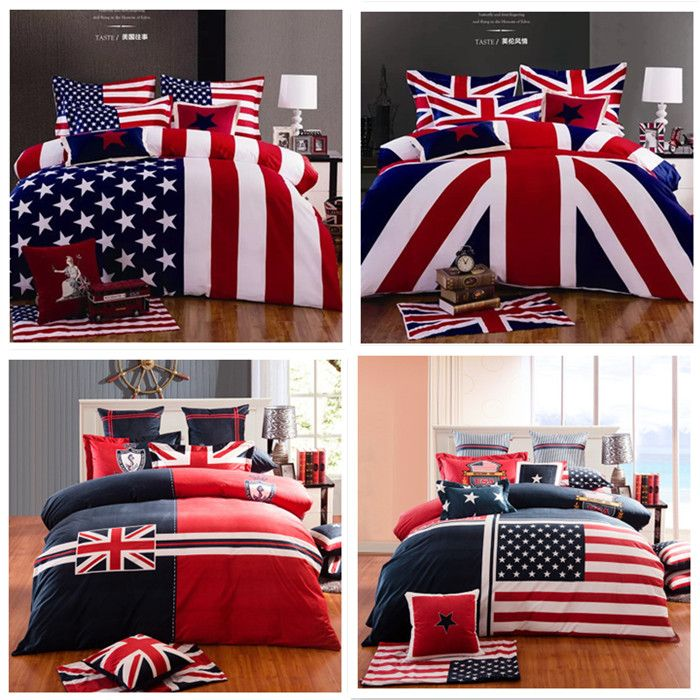 100 Cotton Fashion Home Texile American Flag Bedding Set Usa Uk Queen King