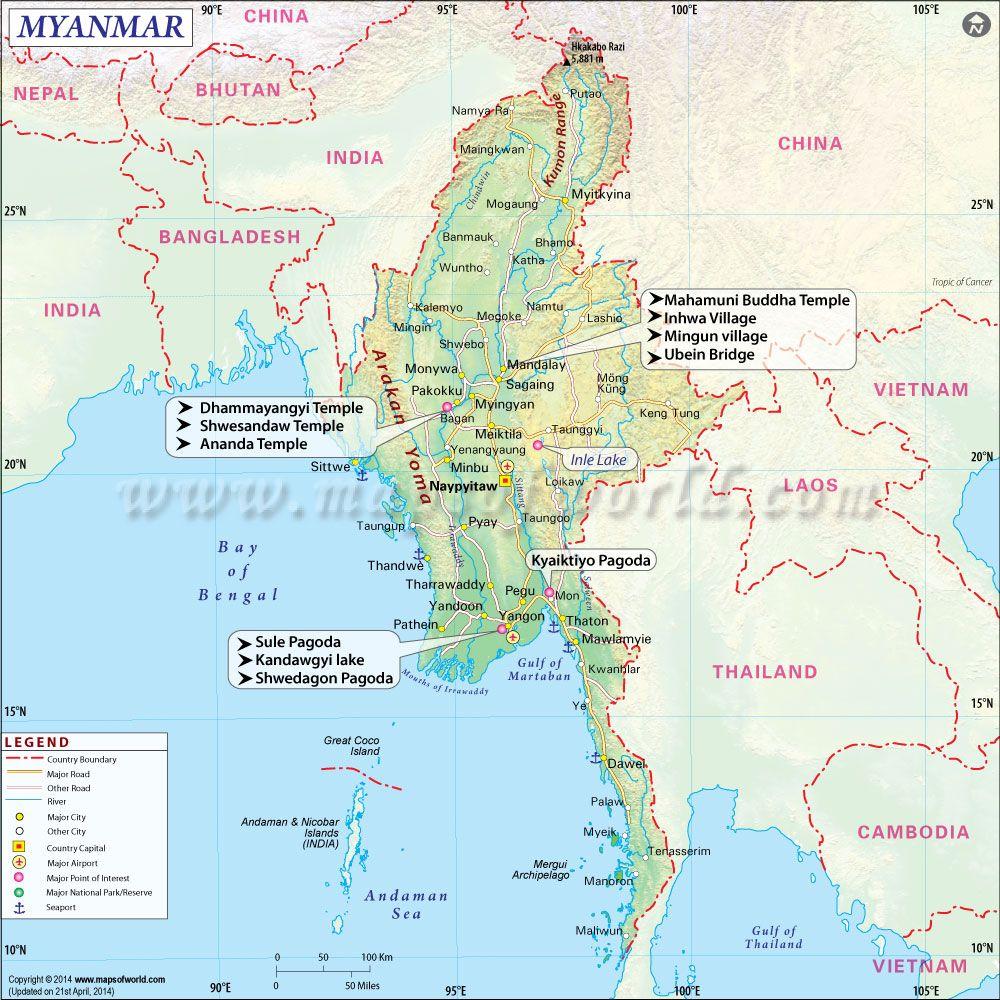 Myanmar map myanmar pinterest asia myanmar map gumiabroncs Gallery