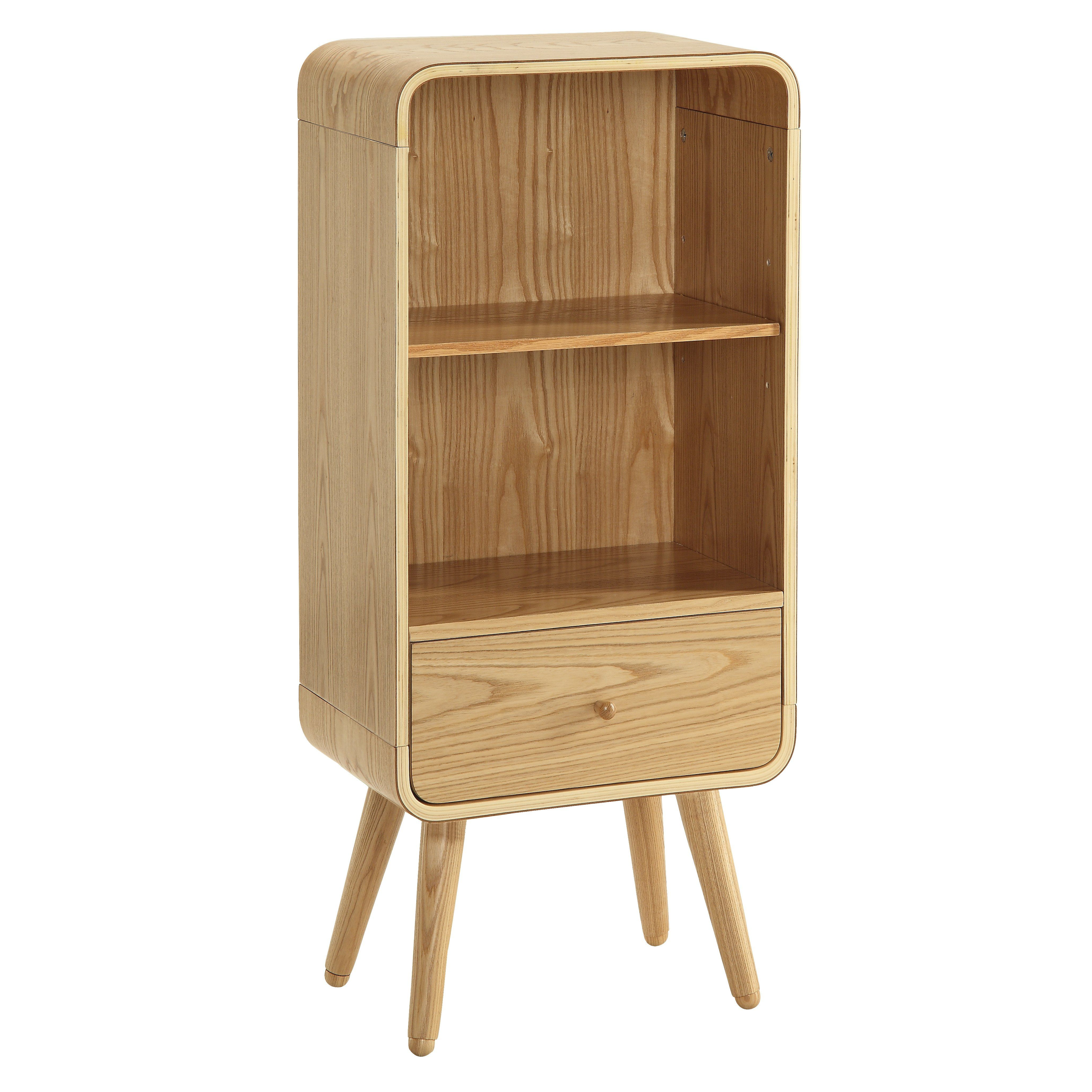 Low Storage Cabinet Retro Low Narrow Bookcase Vintage Style Shelving Storage Cabinet