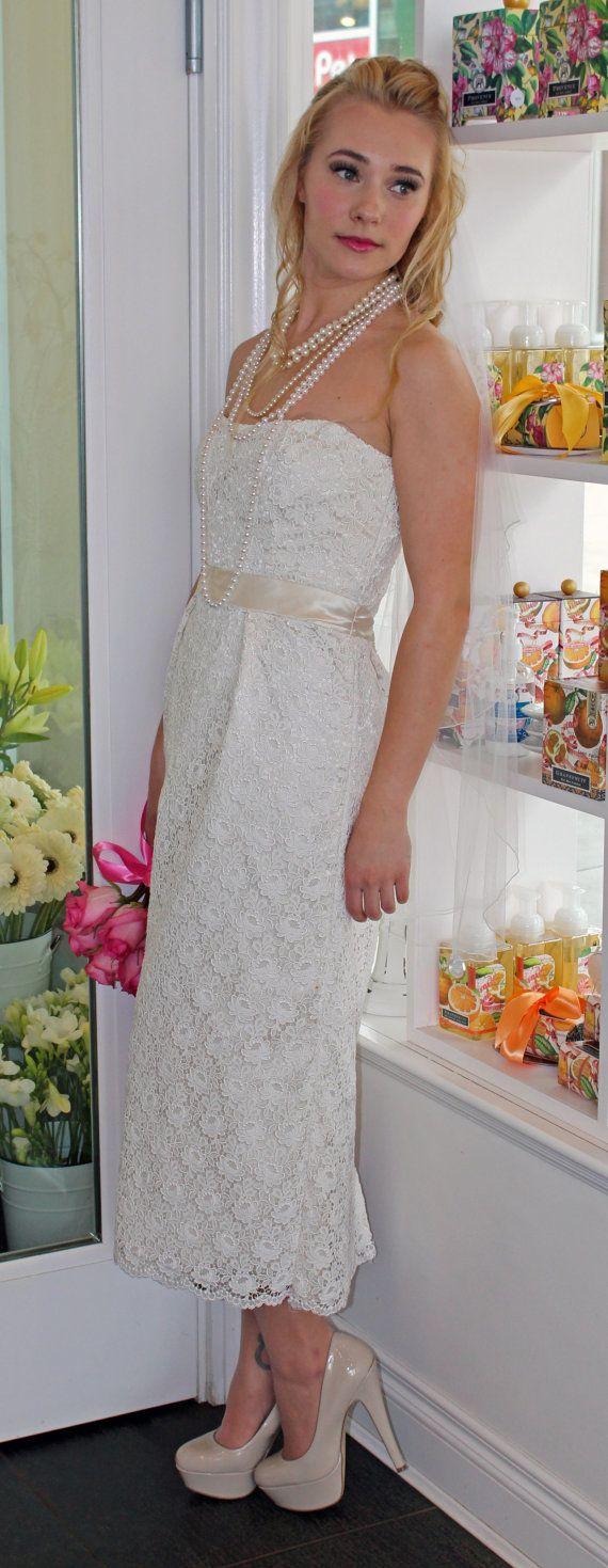 SAMPLE SALE: Vintage Lace, sweetheart necklince refurbished fock, simple wedding dress, destination wedding