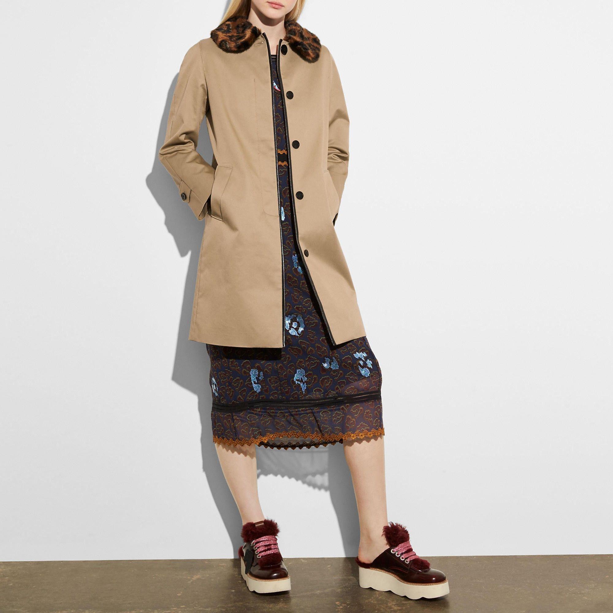COACH leather trim coat. coach cloth Coats for women