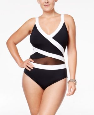90b64e724ac Anne Cole Plus Size Striped Halter One-Piece Swimsuit - Black 18W ...