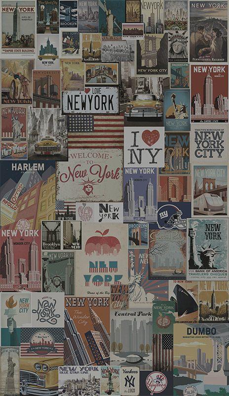 Papel de Parede Vintage New York   12x S/ juros   TaColado