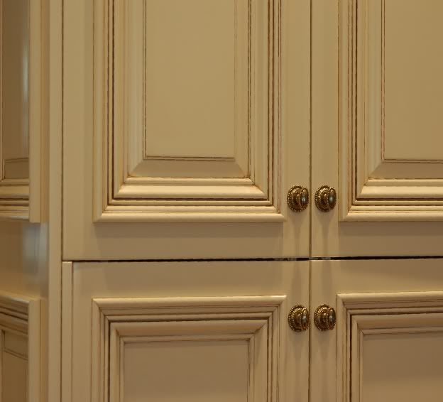 White Cabinets With Black Glazing: Light Yellow Kitcheb Cabinets With Chocolate Glaze