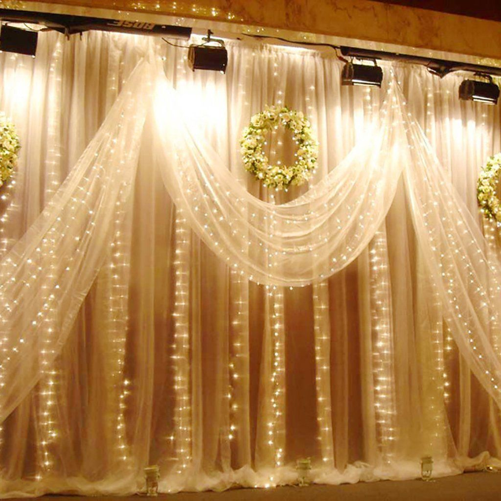 Excelvan 3m x 3m 300 Led Warm White 8 Lighting Modes Curtain Fairy ...