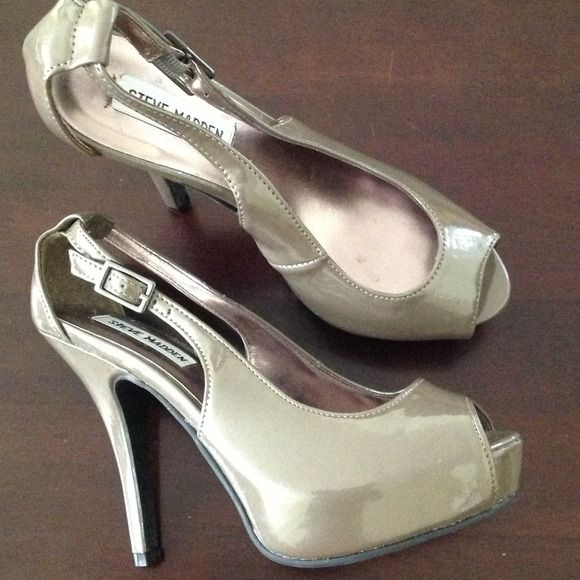"NWOT Steve Madden Open Toe NWOT- Perfect for work or going out. Dark greyish brown color with about a 4 1/2"" heel. Has minor markings from storing.                                                                                                                                                              PayPal/Trades Steve Madden Shoes"