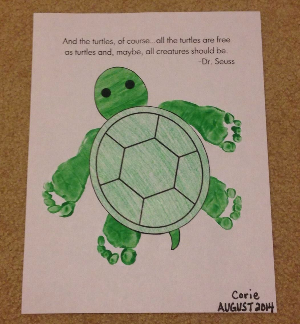 Turtle Footprint Toddler Art Projects Turtle Crafts