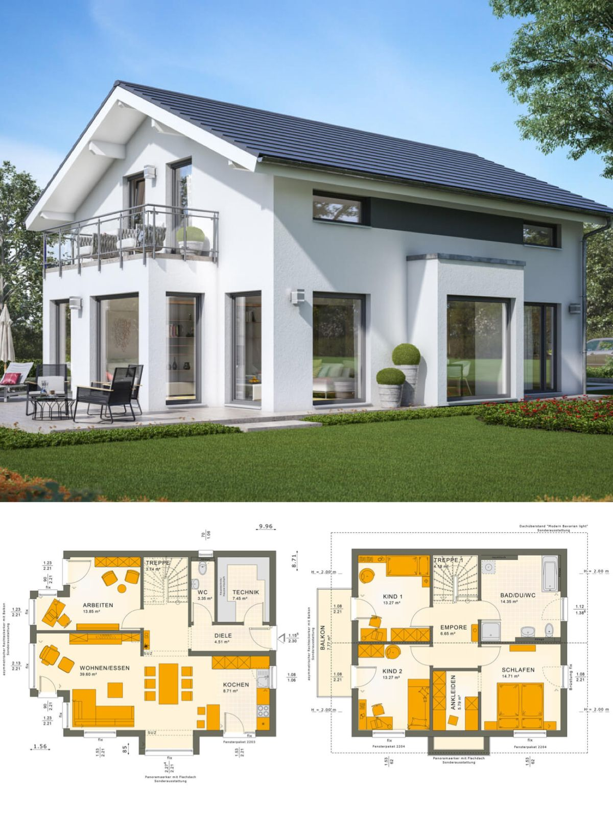 Einfamilienhaus Neubau Design Modern Mit Satteldach Architektur Im  Landhausstil U0026 Wintergarten Erker   Haus Bauen Grundriss Ideen Fertighaus  Sunshine 143 V4 ...