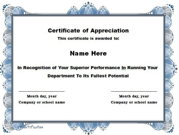Certificate of Appreciation 15 Templates Pinterest - examples of certificate of recognition