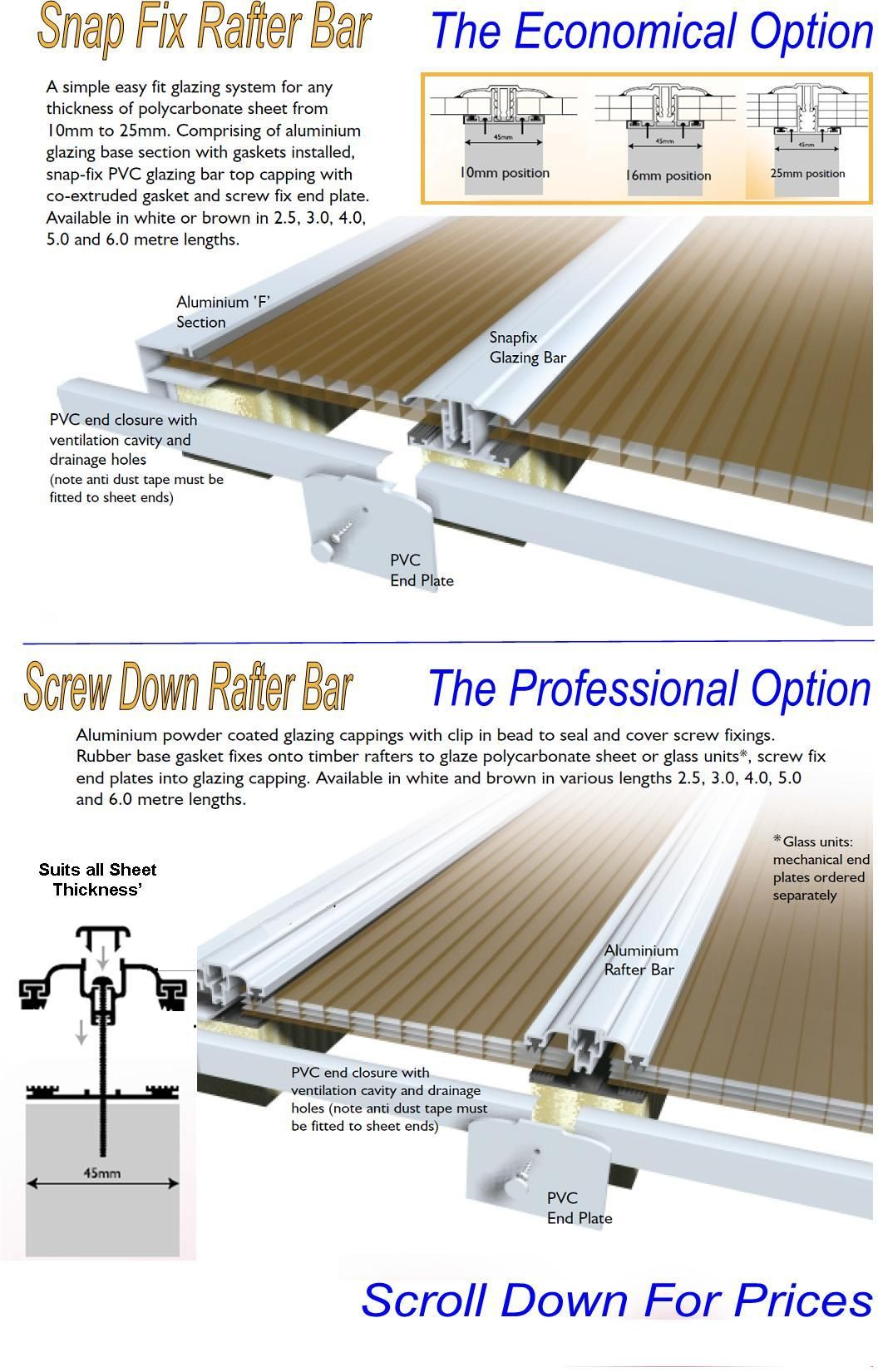 Rafter Supported Glazing Bars Plastic Roofing Rafter Plastic Sheets