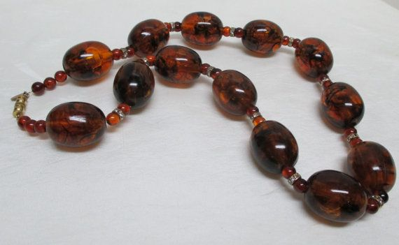 Vintage LES BERNARD Inc Large Amber Lucite Beads by Vintageables