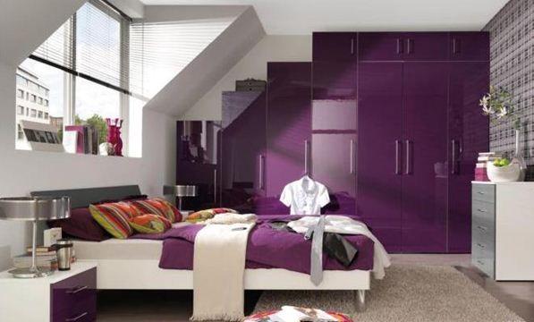 Ideas Colorful Accessories Purple Teenage Bedroom Designs   Gloss Purple  Wardrobe And Clean White Modern Furniture. Ideas Colorful Accessories Purple Teenage Bedroom Designs   Gloss