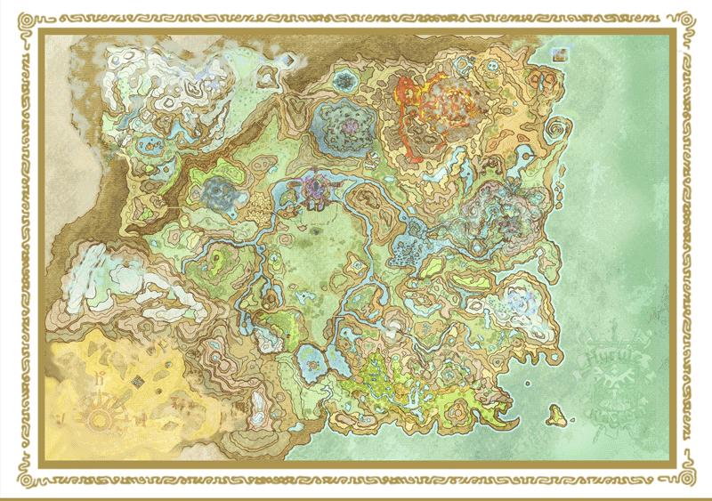 Enjoy The Wild With This Colorful Hand Drawing Zelda Botw Hyrule Map Karten Zelda