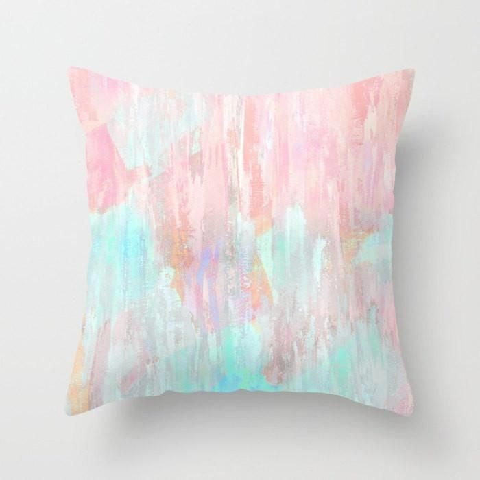 Pastel Throw Pillow Cover Abstract Modern Print Pink, Peach, Aqua, Mint Green Home Decor Living room bedroom accessories Cushion images