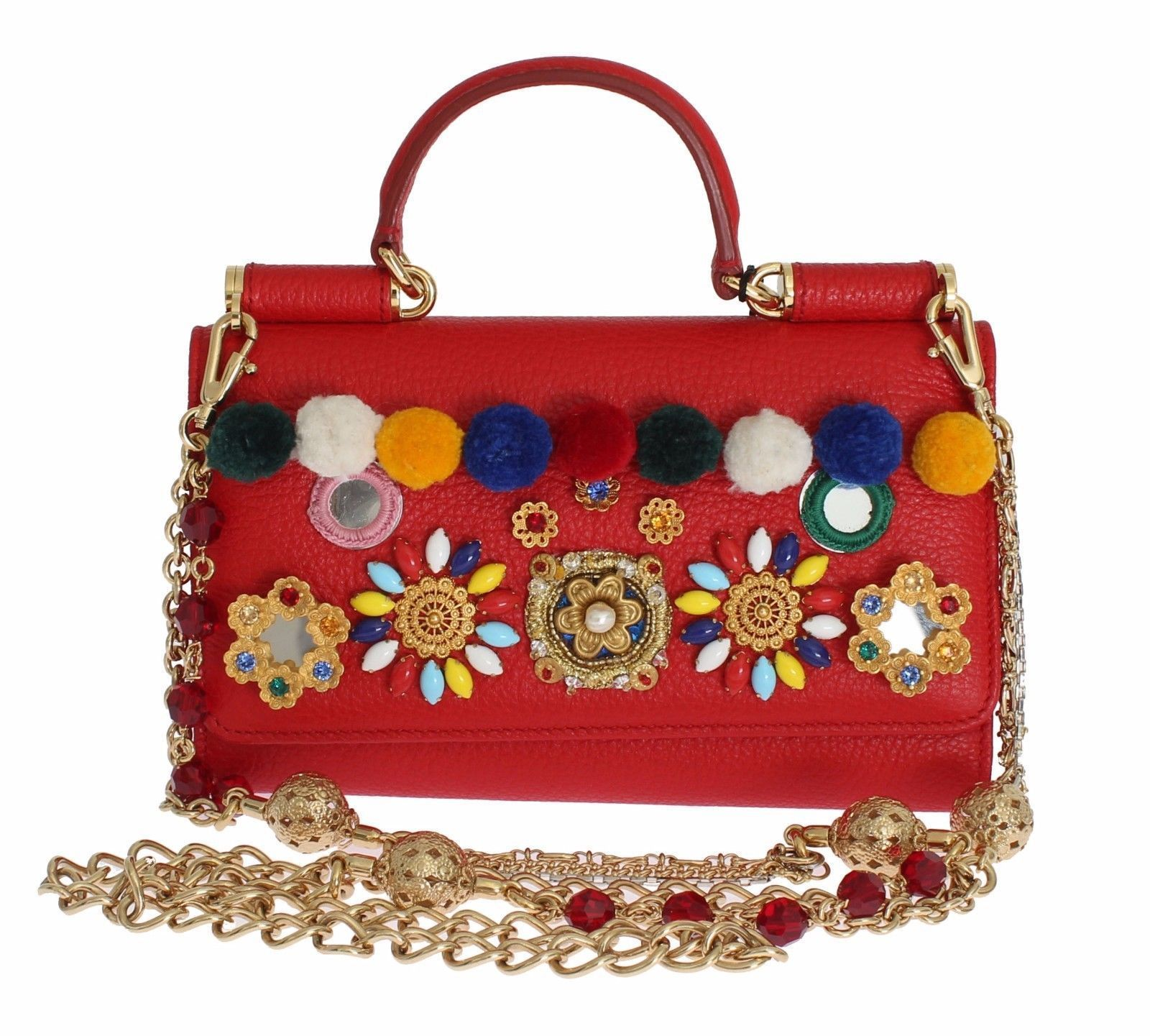 2afb1290dcc8 Dolce   Gabbana Purse Von Red Leather Crystal Carretto Pom Pom ...