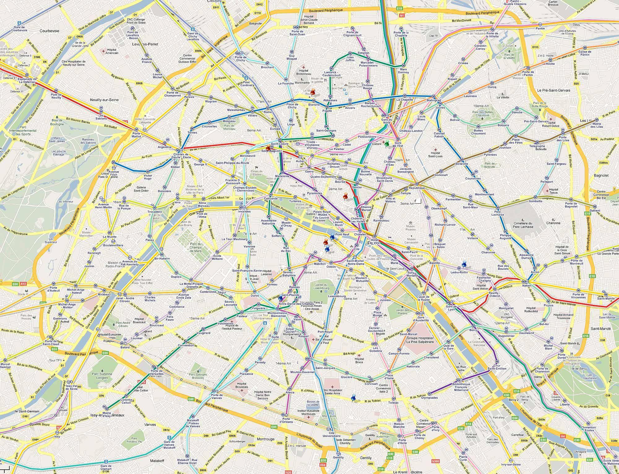 Plan de M tro de Paris Google Maps – Plan De Paris Map