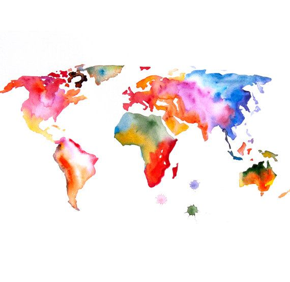 Original Watercolor Painting world map 13x19 abstract modern cool