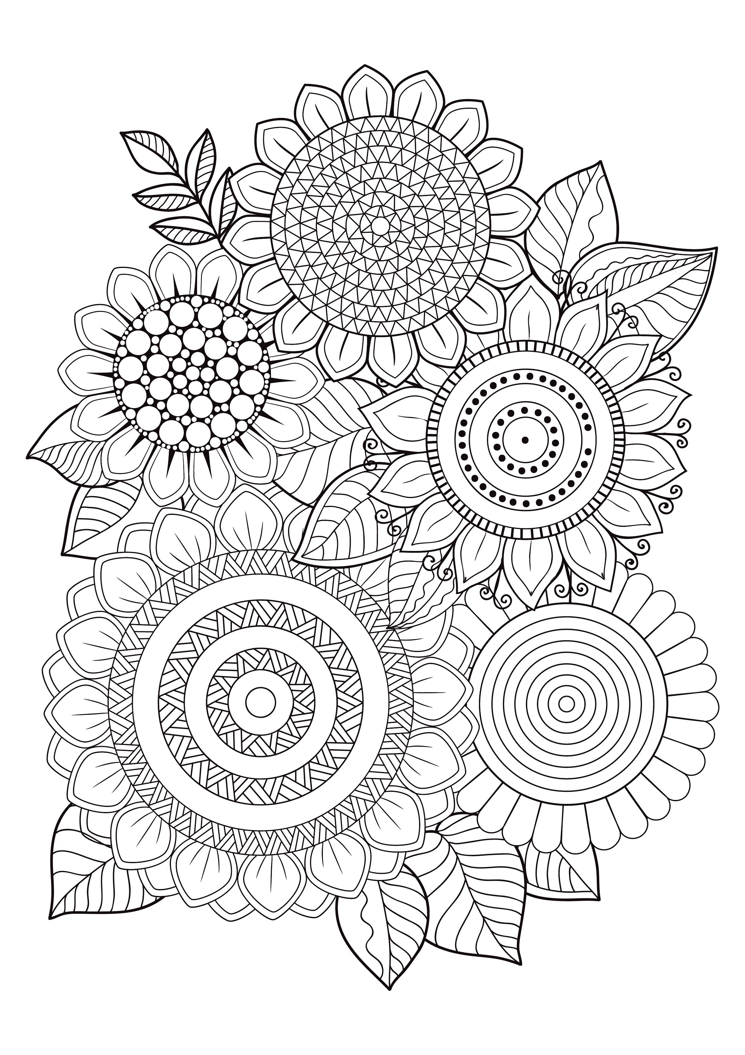 Mindfulness Coloring Pages 12 Flowers Pattern Coloring Pages