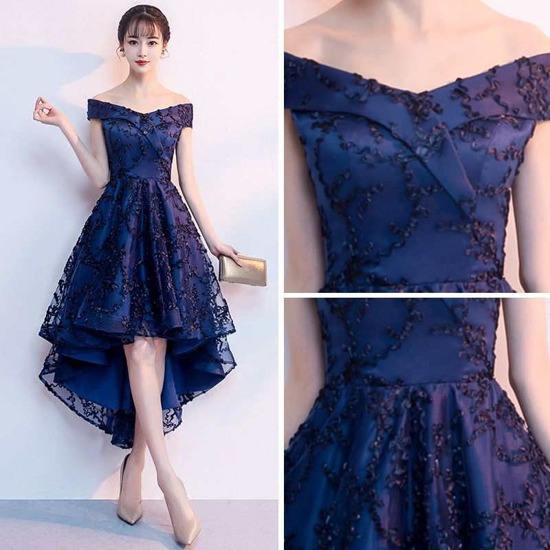 db8d0bcd4546 Chic / Beautiful Navy Blue Cocktail Dresses 2018 A-Line / Princess Off-The-Shoulder  Short Sleeve Appliques Lace Asymmetrical Ruffle Backless Formal Dresses