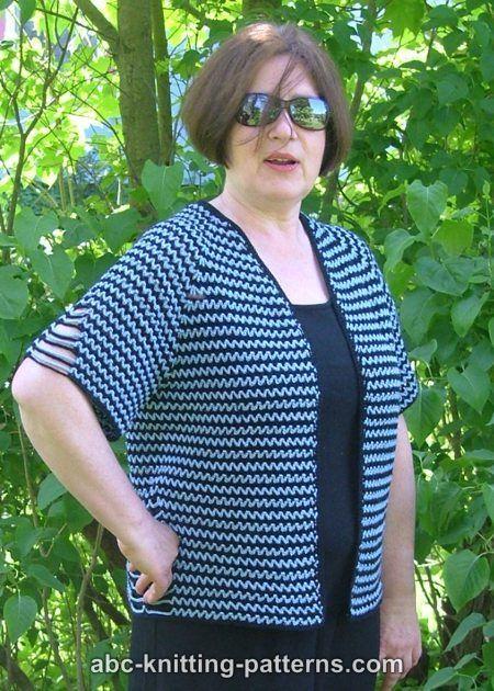 Abc Knitting Patterns Two Tone Raglan Top Down Summer Cardigan