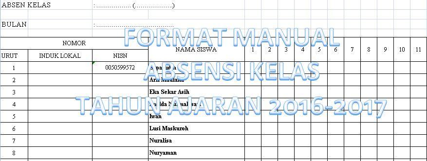 Contoh Format Manual Absensi Kelas Tahun Ajaran 2016 2017 Untuk Semua Jenjang Sekolah Dengan Microsoft Excel Microsoft Excel Microsoft Excel