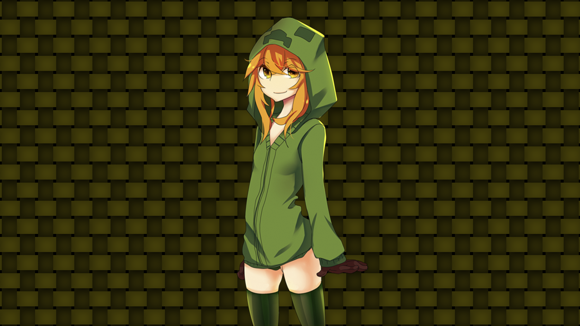 Video Game Minecraft Creeper Women Anime Wallpaper
