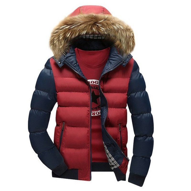 Domple Mens Warm Faux Fur Collar Plus Size Thicken Quilted Hoodie Down Jacket