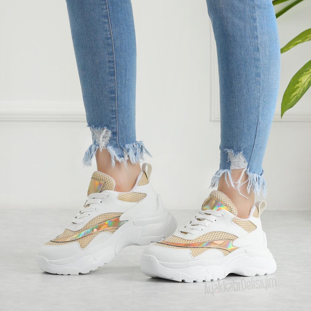 Salop Vizon Beyaz Yuksek Tabanli Kadin Spor Ayakkabi Ayakkabilar Mutevazi Moda Sneaker