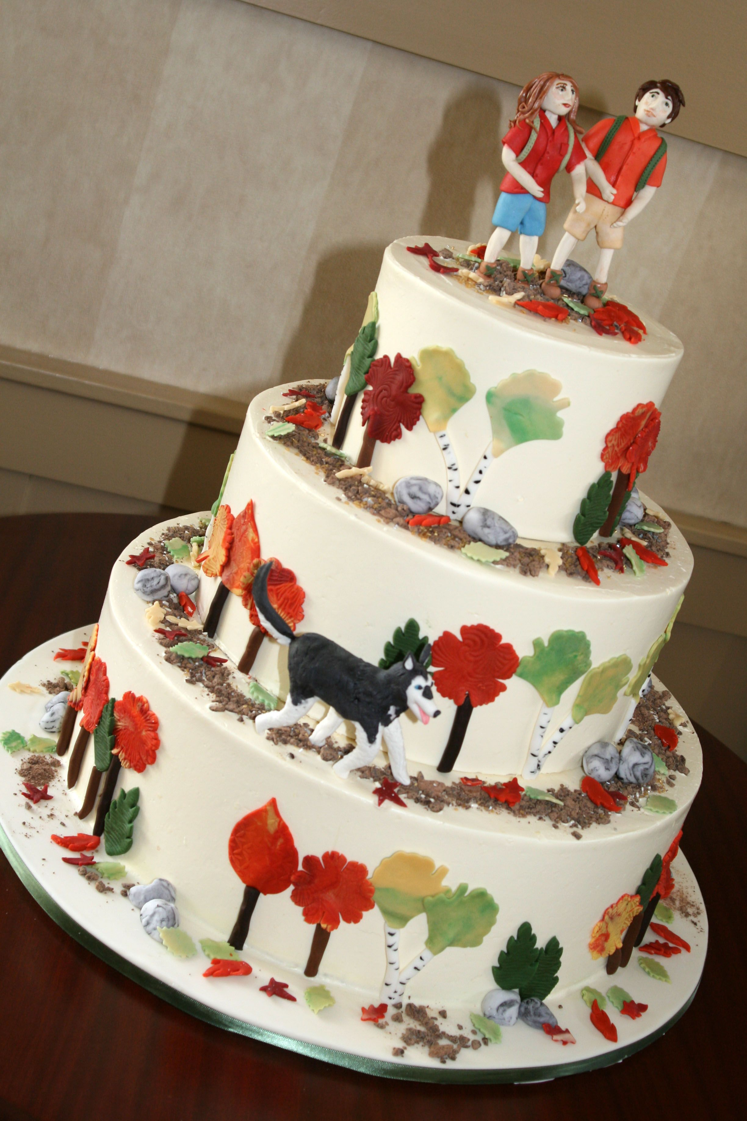 vermont wedding cake bakeries autumn themed cake with sugar hiking and groom and 21581