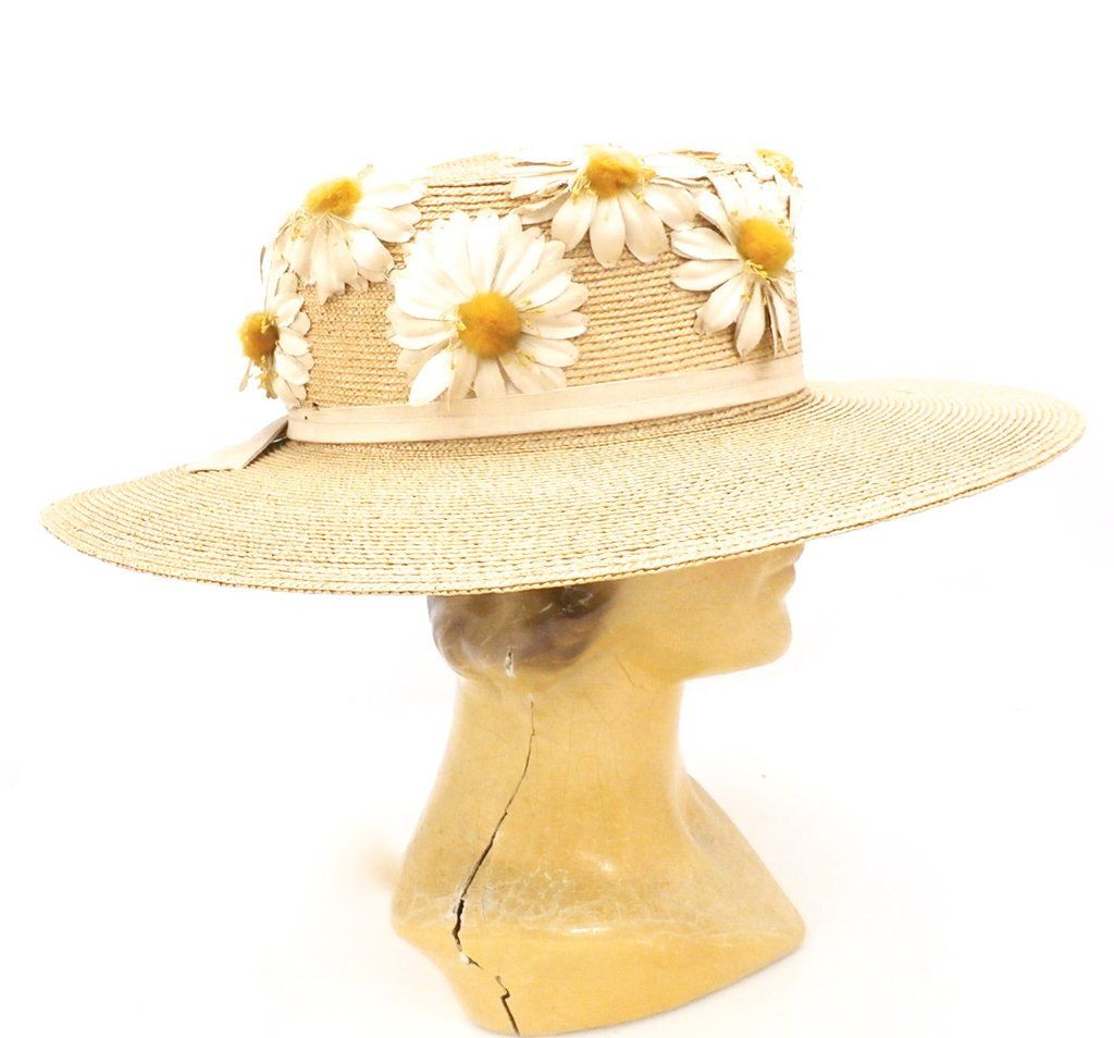 This gorgeous womens' Victorian antique straw hat with its wide brim and large crown is a rare find, indeed! The large crown is accented with applied organdy da