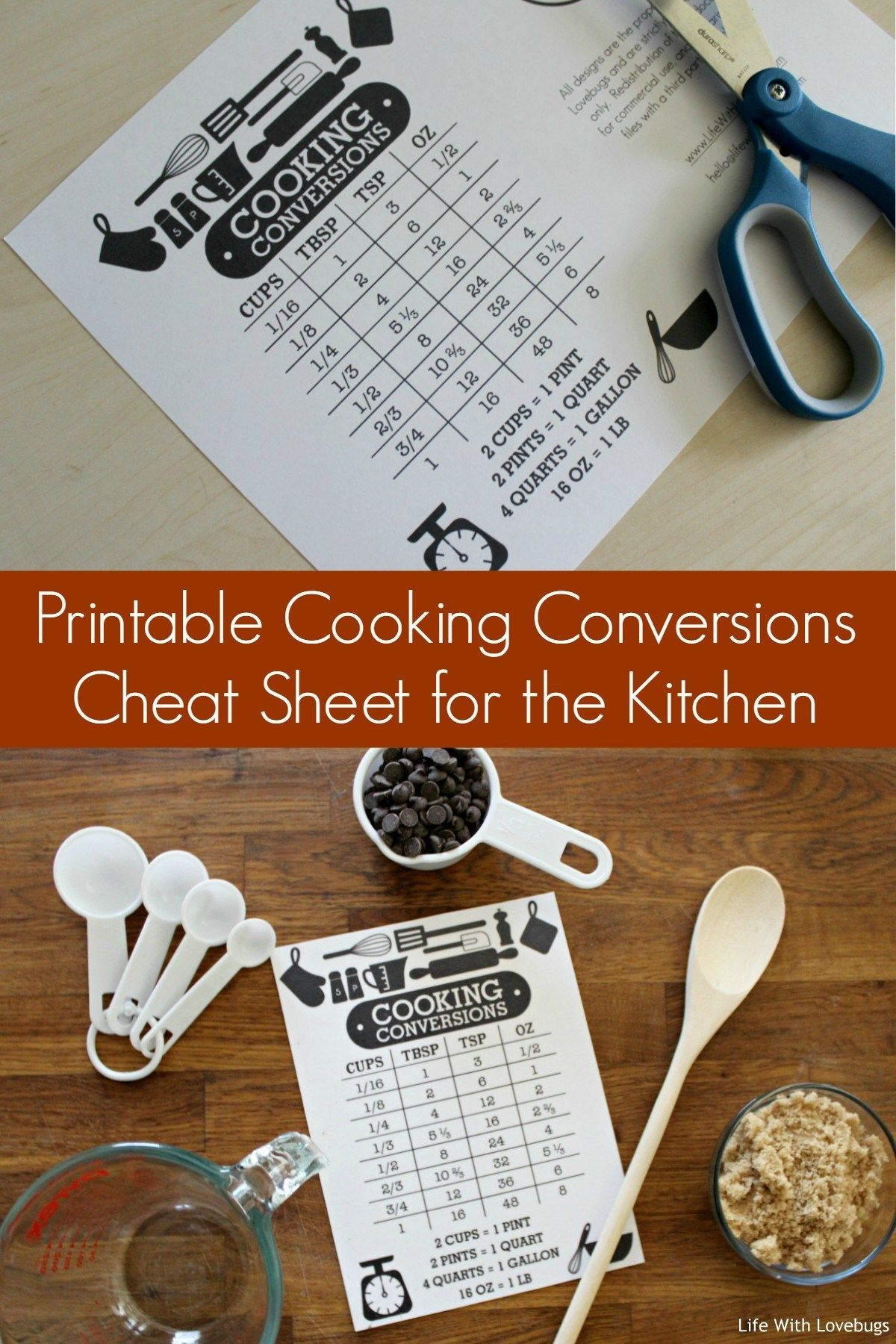 Printable Cooking Conversions Cheat Sheet For The Kitchen
