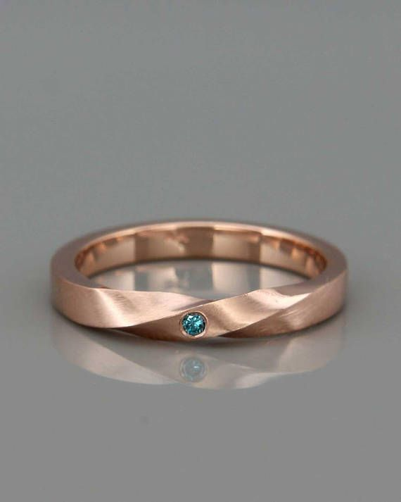 Rose Gold Mobius Frauen Hochzeit Ring set mit einem blauen