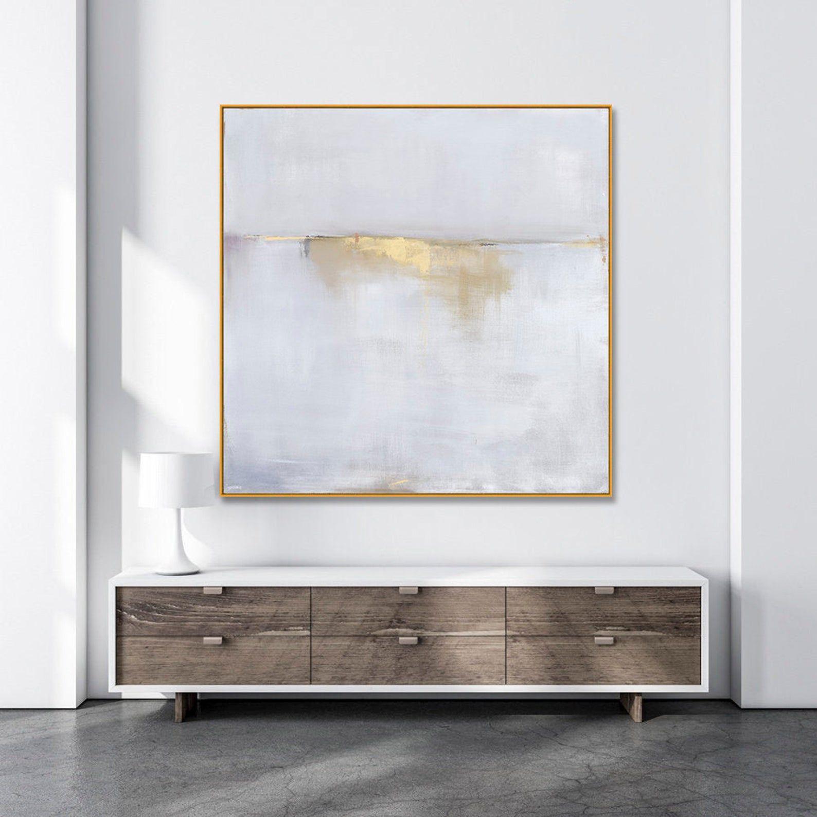 Large Framed Art Abstract Landscape Gold Framed Interior Design