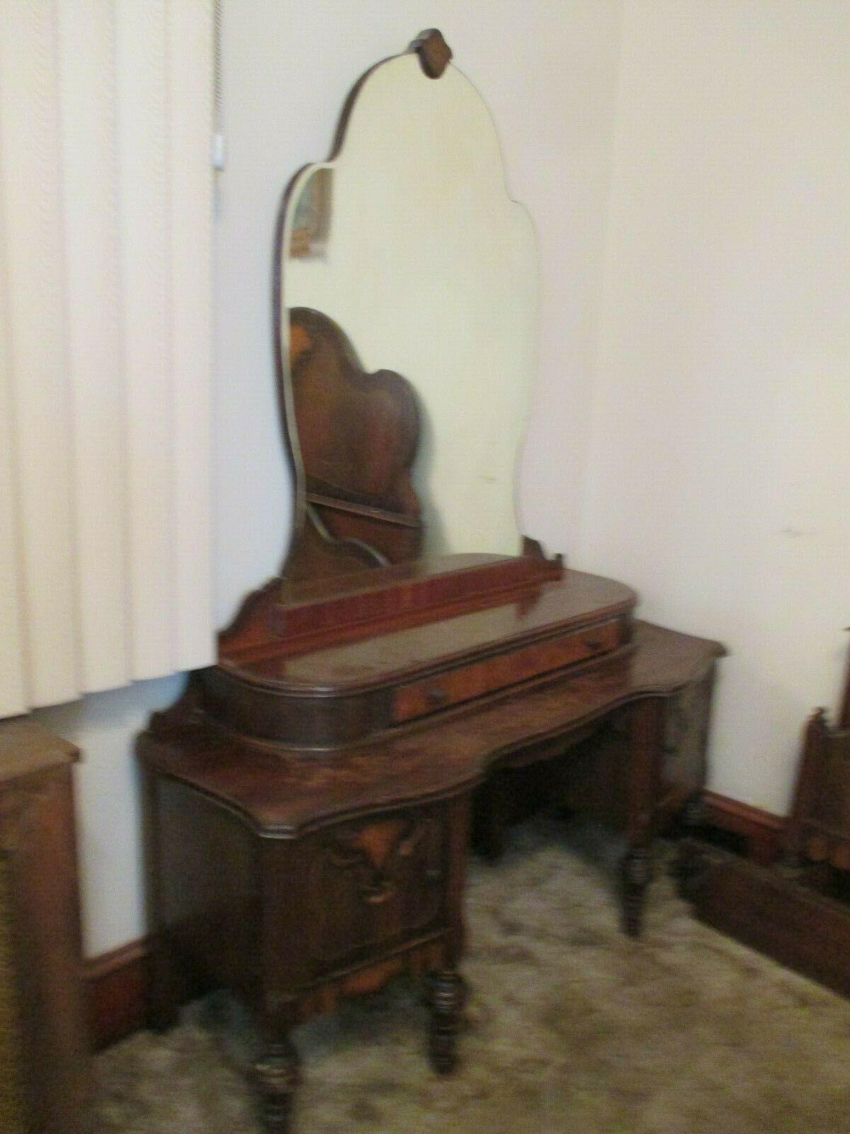 1920s Bedroom Set Dresser Armour Vanity Bed Head and