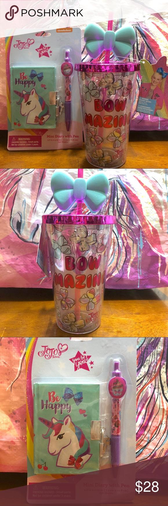 Jojo Siwa Tumbler Cup And Mini Diary Pen Set Jojo Siwa Bows Diary With Lock Tumbler Cups