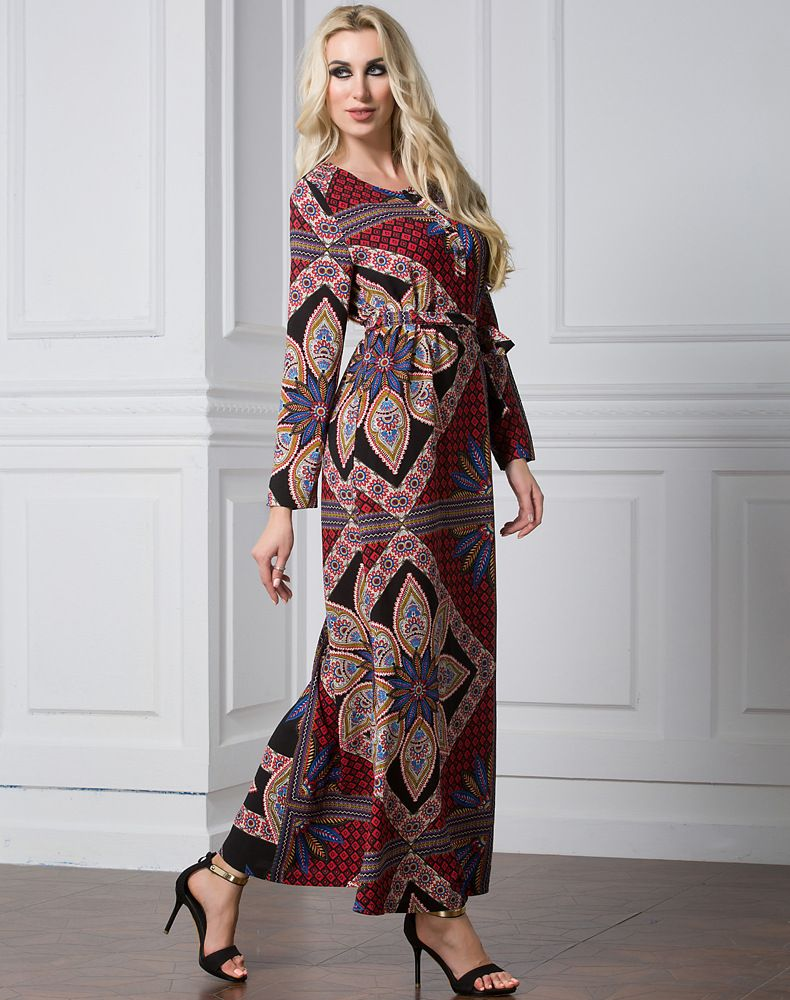 f5a80cf93ec New Saudi Arabia Women Muslim Dress Robe Autumn Full Sleeve Geometric Floral  Long Dress Tunic Gowns Robe Pull Vintage Dress