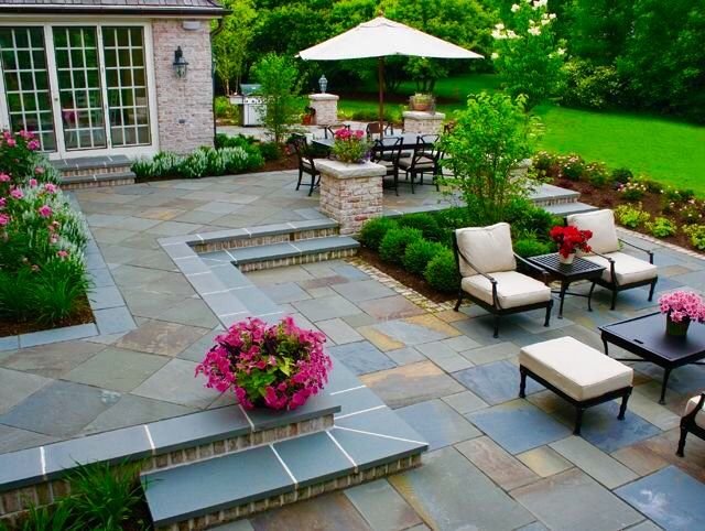 Pin By Gina Goldthwaite On Pool And Landscape Patio Pavers Design Stone Patio Designs Patio Layout