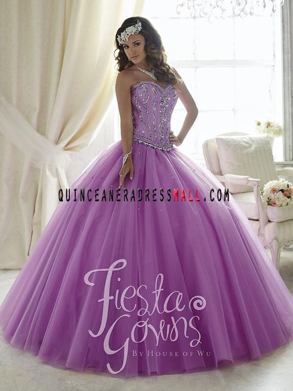 New lavender quinceanera dresses ball gown crystal on organza puffy ...