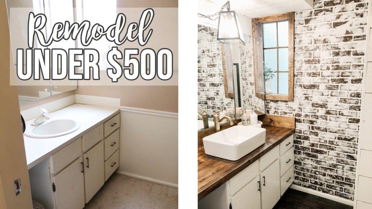 Bathroom Remodel Under 500 Youtube In 2020 Bathrooms Remodel Remodel Brick Bathroom
