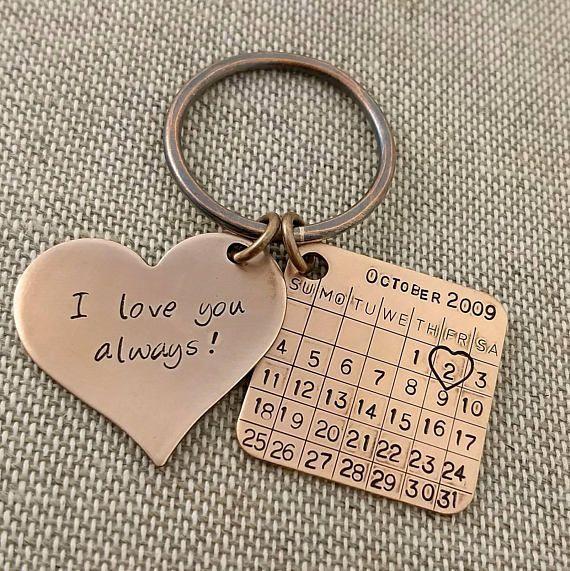 Bronze Anniversary Keychain Bronze Gift 8th Anniversary Weddinganniversarygifts Bronze Anniversary Gifts Anniversary Keychain Bronze Anniversary
