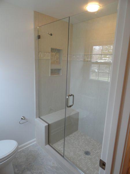 Built In Shower Bench W Framless Glass Shower Door