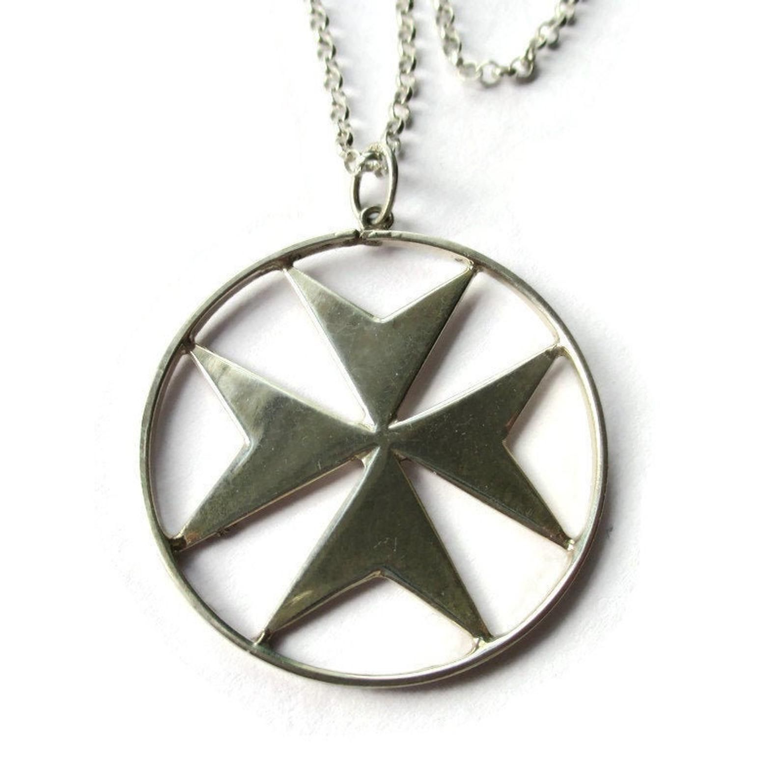 Large Maltese Cross 917 Silver Pendant Sterling Silver Etsy In 2020 Modernist Jewelry Sterling Silver Chains Pendant