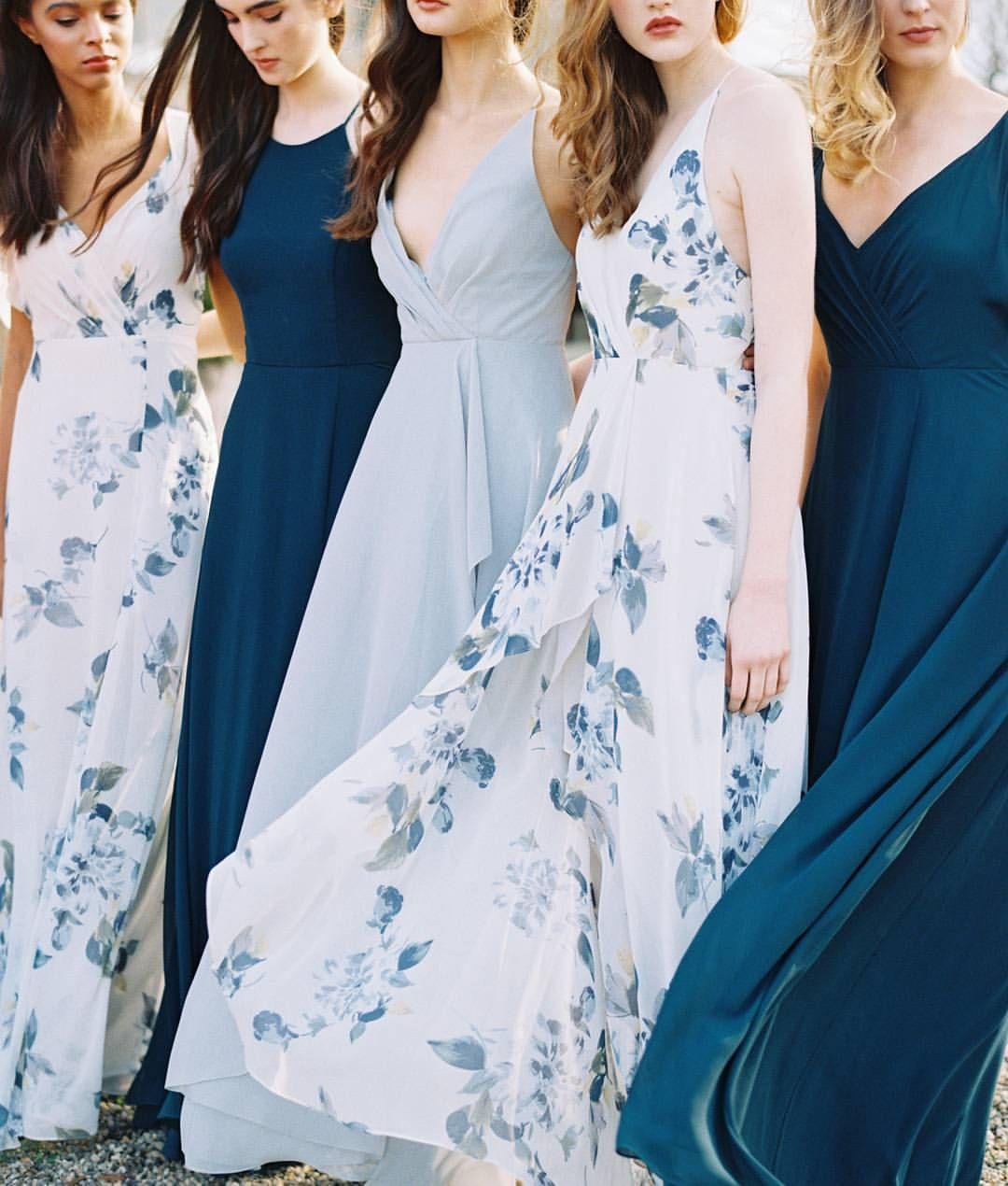 Wedding Bridesmaid Dresses Spring Summer Mix And Match Navy Light Blue F Spring Bridesmaid Dresses Printed Bridesmaid Dresses Floral Bridesmaid Dresses