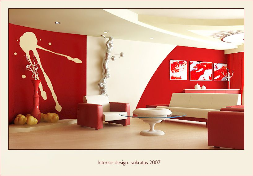 Living Room Red white and red arm chairs and white glass coffee table plus