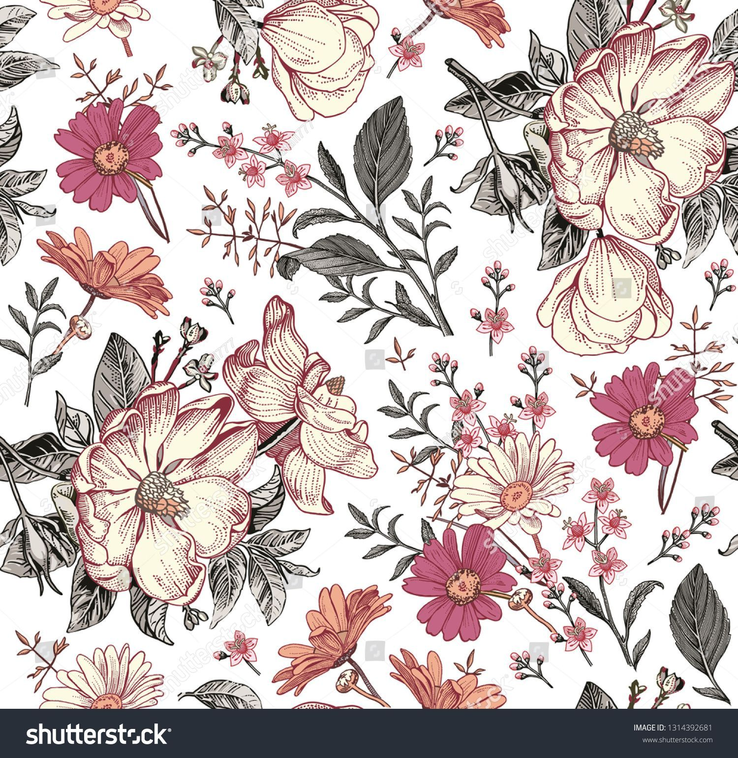 Seamless pattern Realistic blooming isolated flowers Vintage fabric background Rosehip dogrose brier chamomile croton wildflowers Wallpaper baroque Drawing engraving Vect...